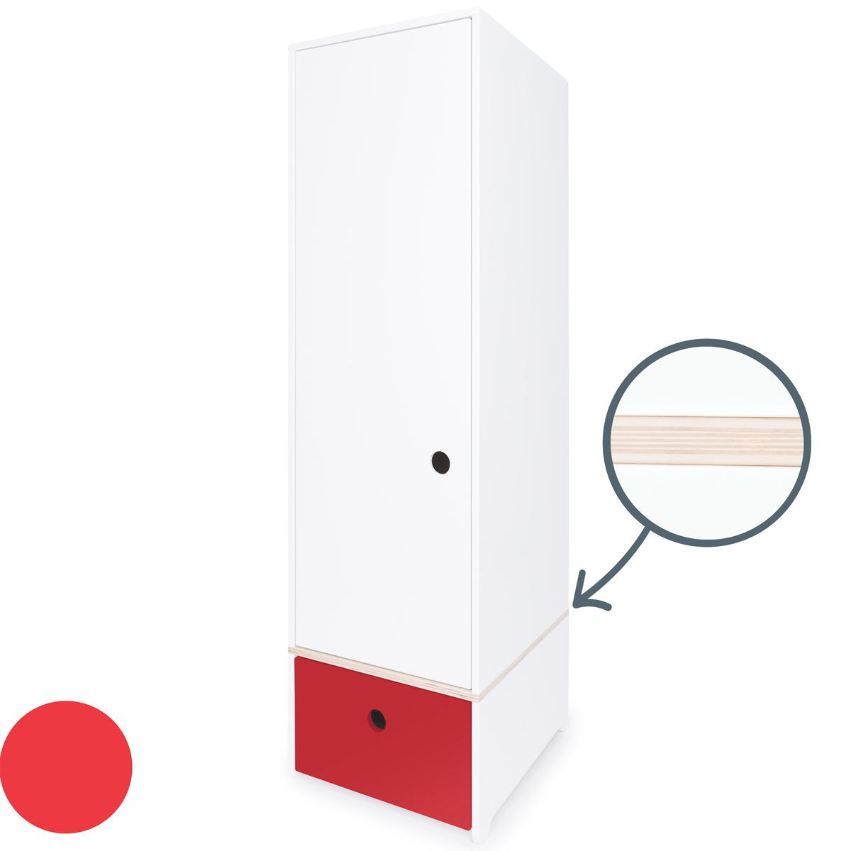 Armoire 1 porte COLORFLEX Abitare Kids façade tiroir true red