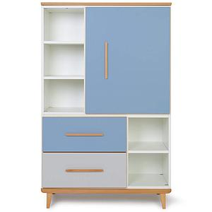 Armoire 147cm 1 porte 2 tiroirs NADO By A.K. capri blue-manhattan grey