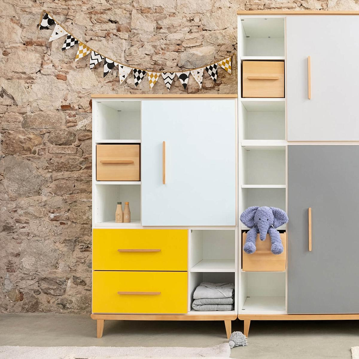 Armoire 147cm 1 porte 2 tiroirs NADO By A.K. mint-sunshine yellow