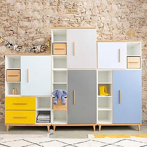 Armoire 147cm 1 porte 2 tiroirs NADO By A.K. sunshine yellow