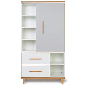 Armoire 173cm 1 porte 2 tiroirs NADO By A.K. manhattan grey-white