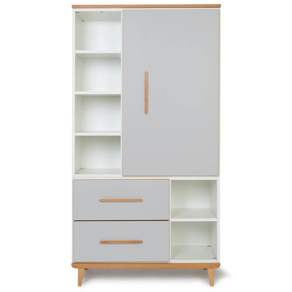 Armoire 173cm 1 porte 2 tiroirs NADO By A.K. manhattan grey