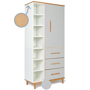 Armoire 198cm 1 porte 3 tiroirs NADO By A.K. manhattan grey
