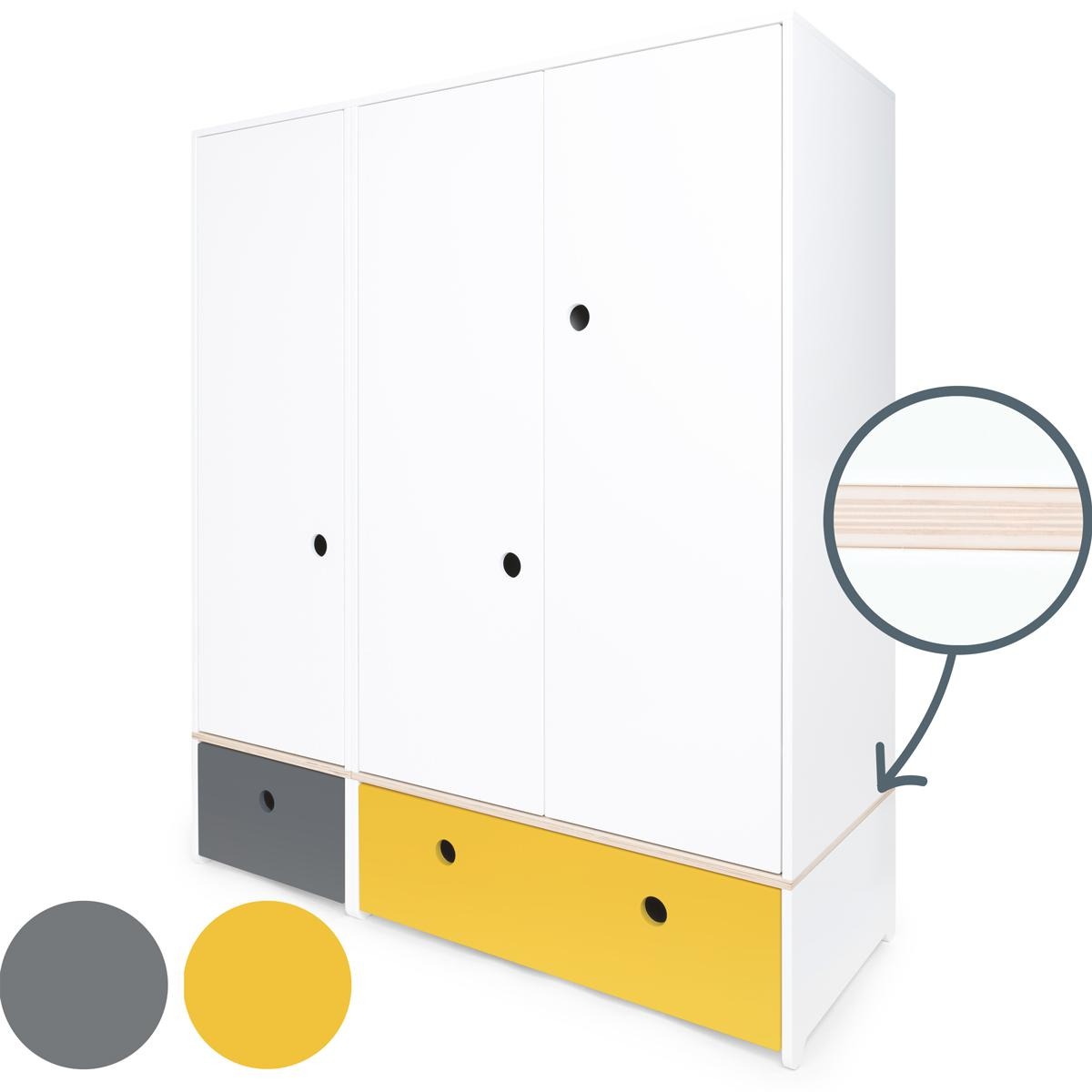 Armoire 3 portes COLORFLEX Abitare Kids façades tiroirs space grey-nectar yellow