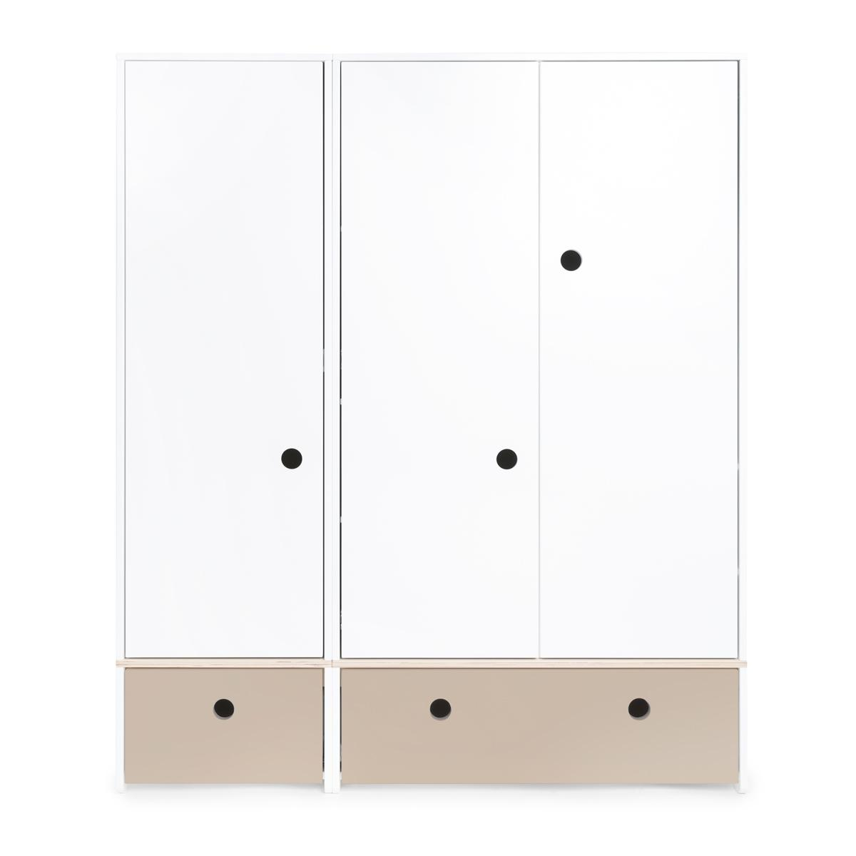 Armoire 3 portes COLORFLEX Abitare Kids façades tiroirs warm grey