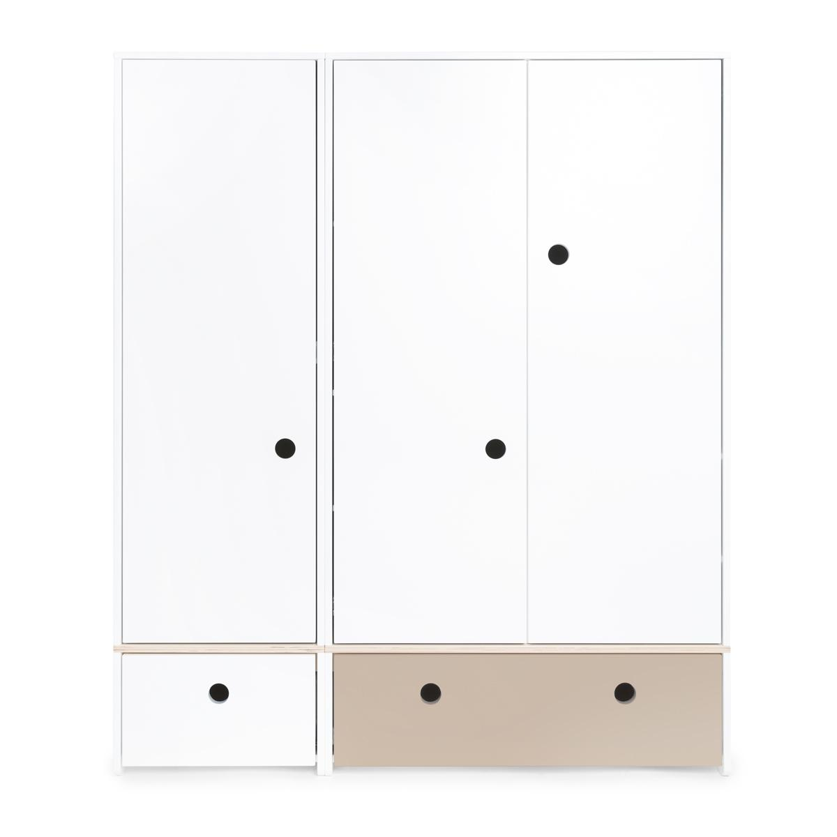 Armoire 3 portes COLORFLEX Abitare Kids façades tiroirs white-warm grey