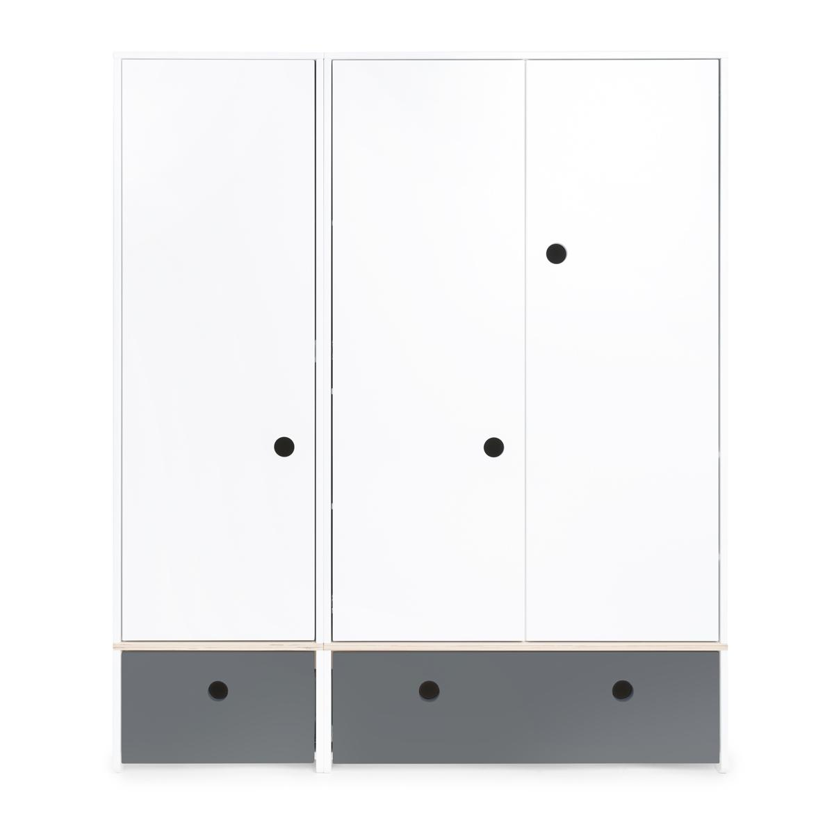 Armoire 3 portes COLORFLEX façades tiroirs space grey