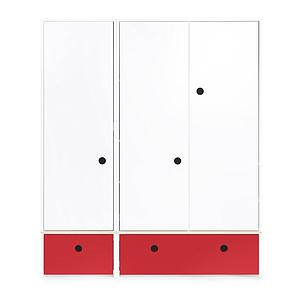 Armoire 3 portes COLORFLEX façades tiroirs true red
