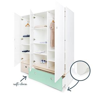 Armoire 3 portes COLORFLEX façades tiroirs white wash-mint