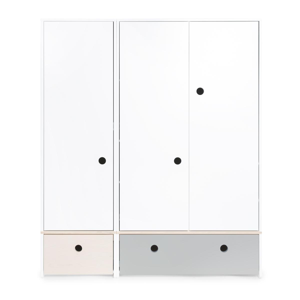 Armoire 3 portes COLORFLEX façades tiroirs white wash-pearl grey