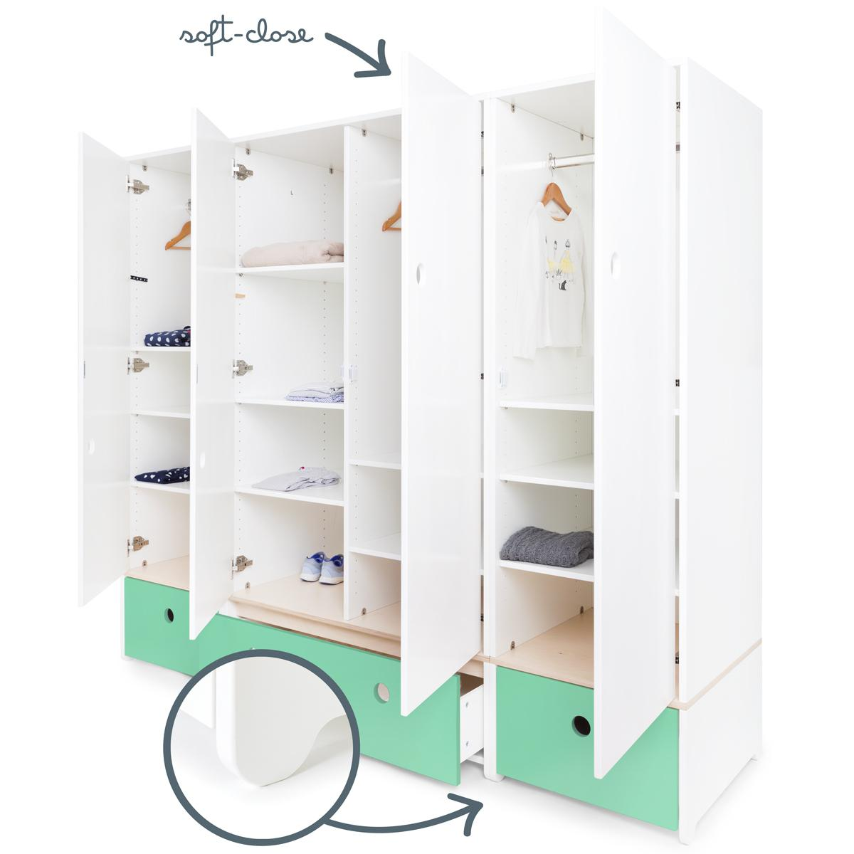 Armoire 4 portes COLORFLEX Abitare Kids façades tiroirs sea foam