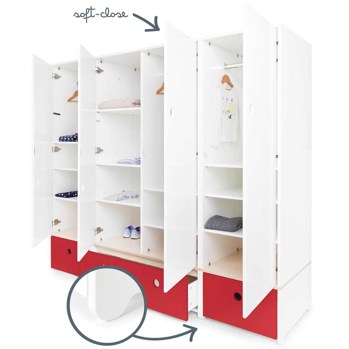 Armoire 4 portes COLORFLEX Abitare Kids façades tiroirs true red