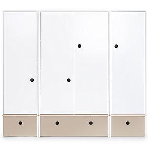 Armoire 4 portes COLORFLEX Abitare Kids façades tiroirs warm grey