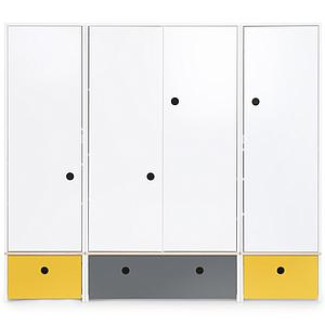 Armoire 4 portes COLORFLEX façades tiroirs nectar yellow-space grey-nectar yellow