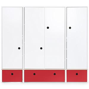 Armoire 4 portes COLORFLEX façades tiroirs true red