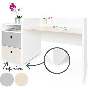 Bureau évolutif-petit meuble 2 tiroirs COLORFLEX Abitare Kids pearl grey-white wash