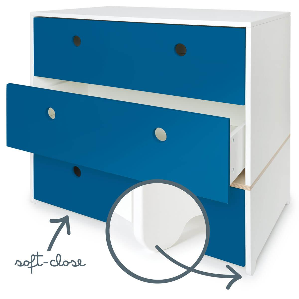 Commode 3 tiroirs COLORFLEX Abitare Kids façades tiroirs deep marine
