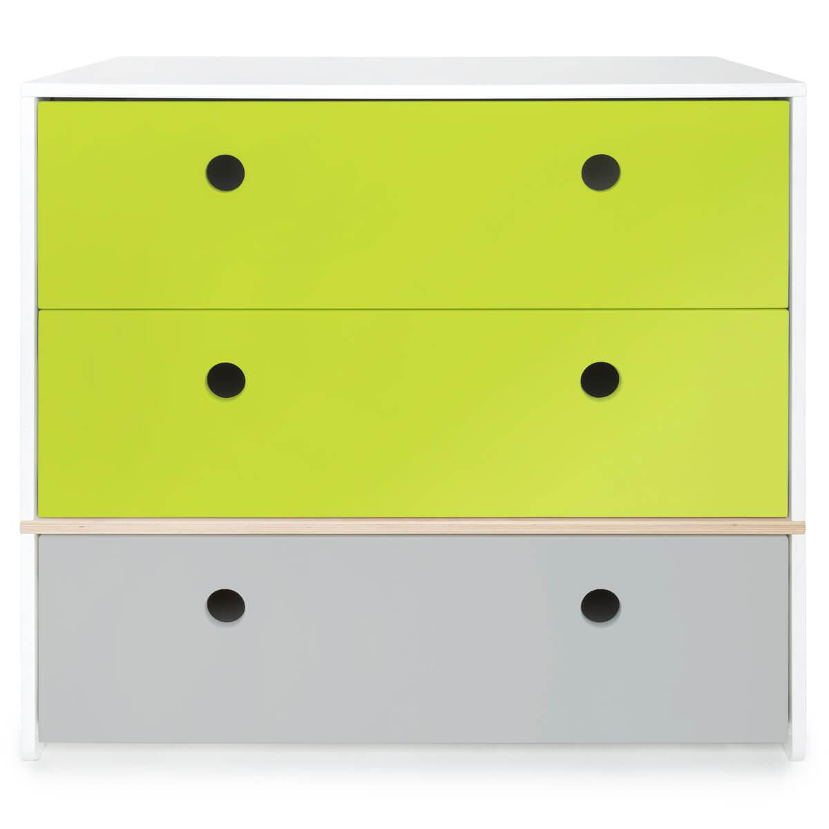 Commode 3 tiroirs COLORFLEX Abitare Kids façades tiroirs lime-lime-pearl grey