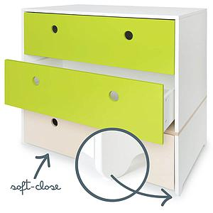 Commode 3 tiroirs COLORFLEX Abitare Kids façades tiroirs lime-lime-white wash
