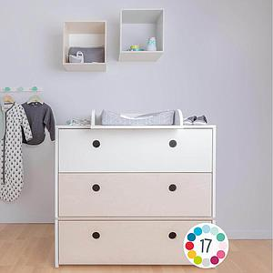 Commode 3 tiroirs COLORFLEX Abitare Kids façades tiroirs mint-mint-pearl grey
