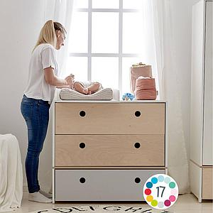 Commode 3 tiroirs COLORFLEX Abitare Kids façades tiroirs pearl grey-pearl grey-deep marine