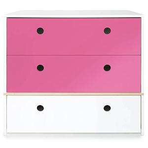 Commode 3 tiroirs COLORFLEX Abitare Kids façades tiroirs pink-pink-white