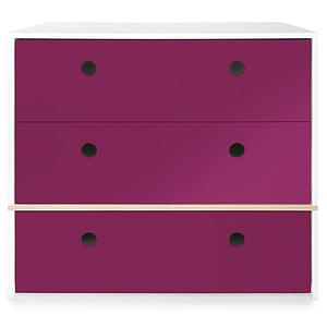 Commode 3 tiroirs COLORFLEX Abitare Kids façades tiroirs plum