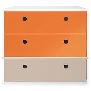 Commode 3 tiroirs COLORFLEX Abitare Kids façades tiroirs pure orange-pure orange-warm grey