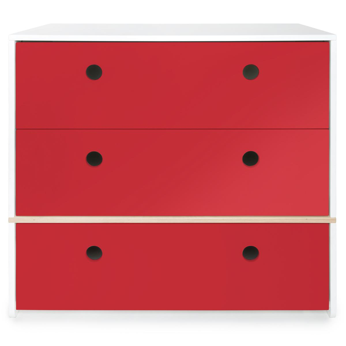 Commode 3 tiroirs COLORFLEX Abitare Kids façades tiroirs true red