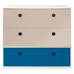 Commode 3 tiroirs COLORFLEX Abitare Kids façades tiroirs warm grey-warm grey-deep marine