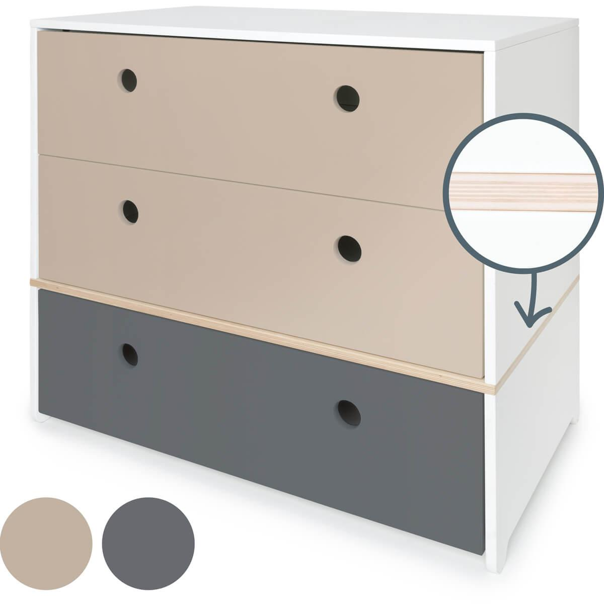Commode 3 tiroirs COLORFLEX Abitare Kids façades tiroirs warm grey-warm grey-space grey