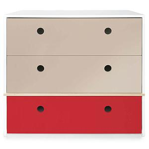 Commode 3 tiroirs COLORFLEX Abitare Kids façades tiroirs warm grey-warm grey-true red