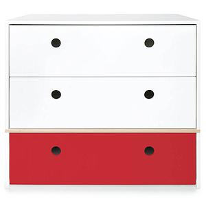 Commode 3 tiroirs COLORFLEX Abitare Kids façades tiroirs white-white-true red
