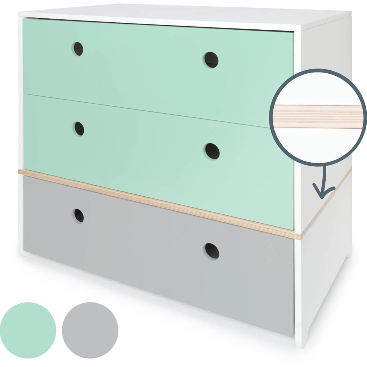 Commode 3 tiroirs COLORFLEX façades tiroirs mint-mint-pearl grey
