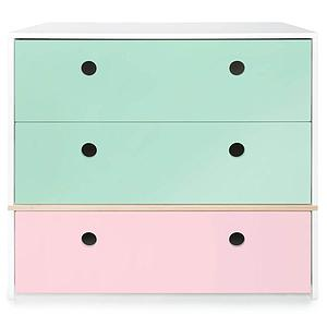 Commode 3 tiroirs COLORFLEX façades tiroirs mint-mint-sweet pink