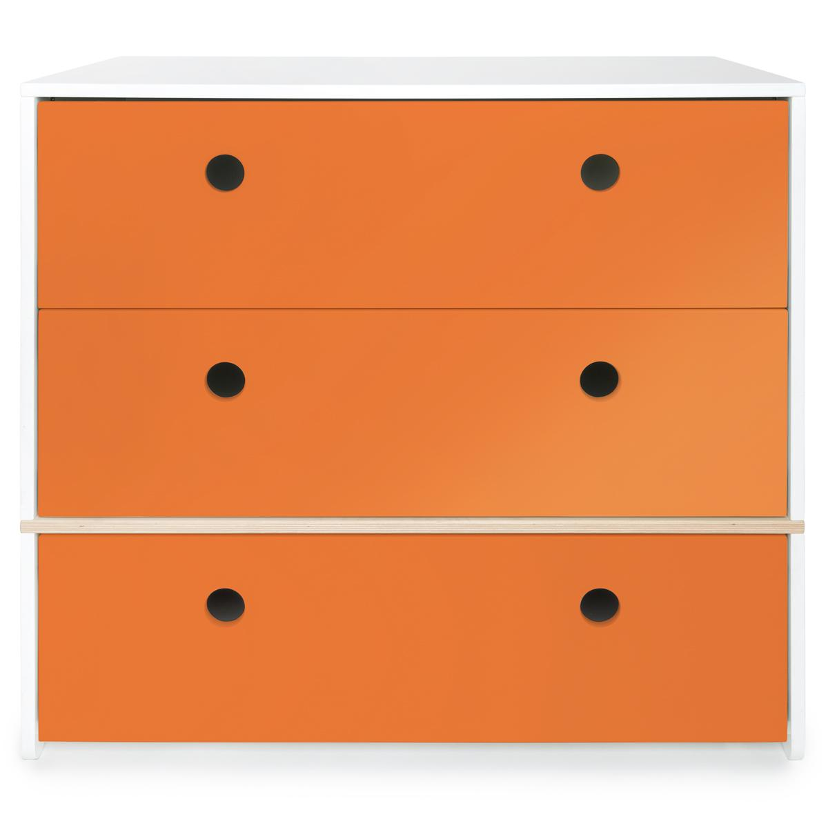 Commode 3 tiroirs COLORFLEX façades tiroirs pure orange