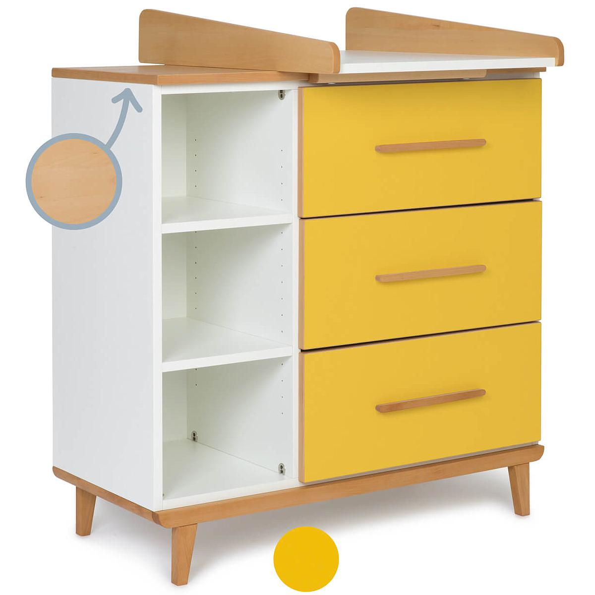 Commode à langer 3 tiroirs NADO sunshine yellow