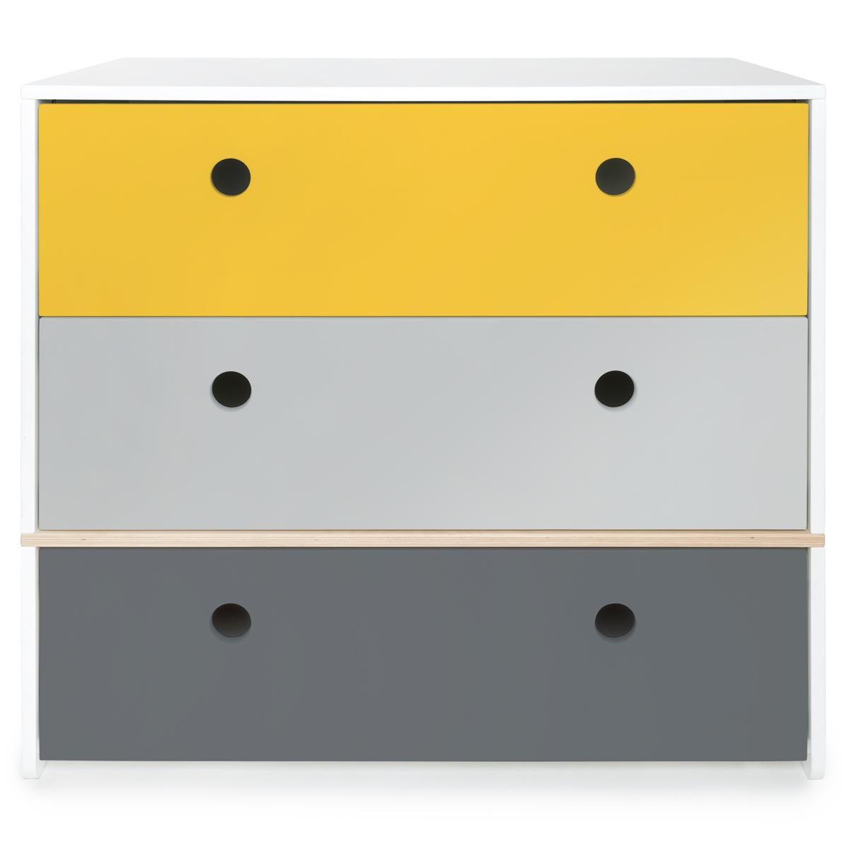 Commode COLORFLEX Abitare Kids façades tiroirs nectar yellow-pearl grey-space grey