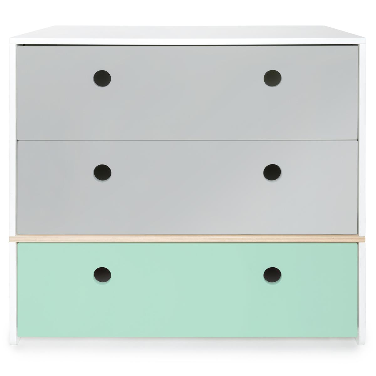 Commode COLORFLEX Abitare Kids façades tiroirs pearl grey-pearl grey-mint