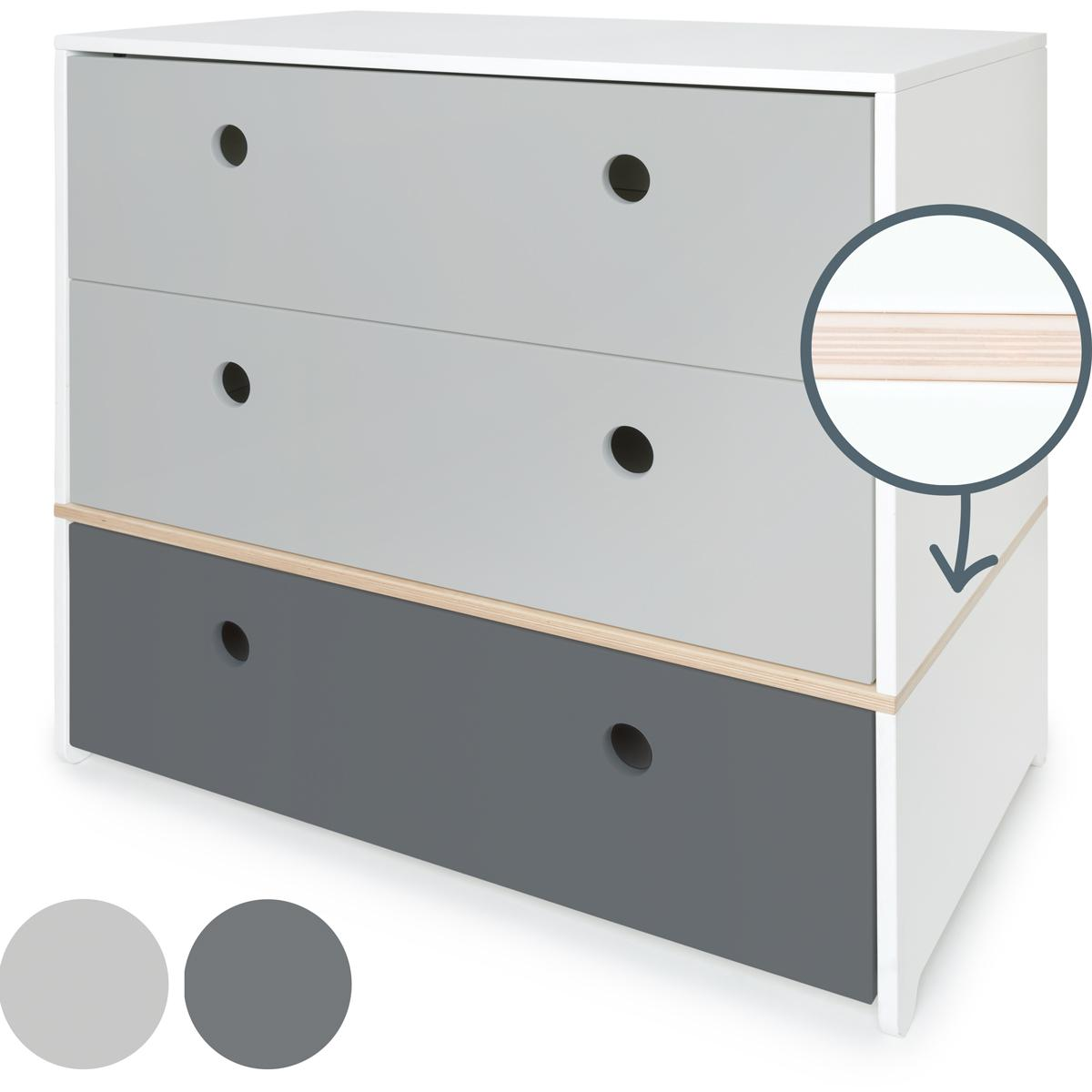 Commode COLORFLEX Abitare Kids façades tiroirs pearl grey-pearl grey-space grey