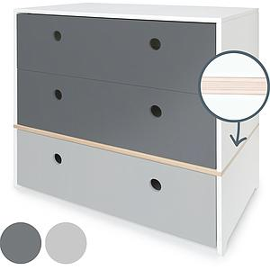 Commode COLORFLEX Abitare Kids façades tiroirs space grey-space grey-pearl grey