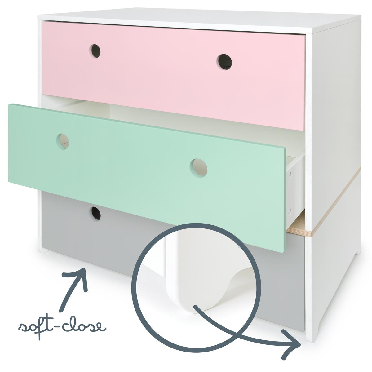 Commode COLORFLEX Abitare Kids façades tiroirs sweet pink-mint-pearl grey