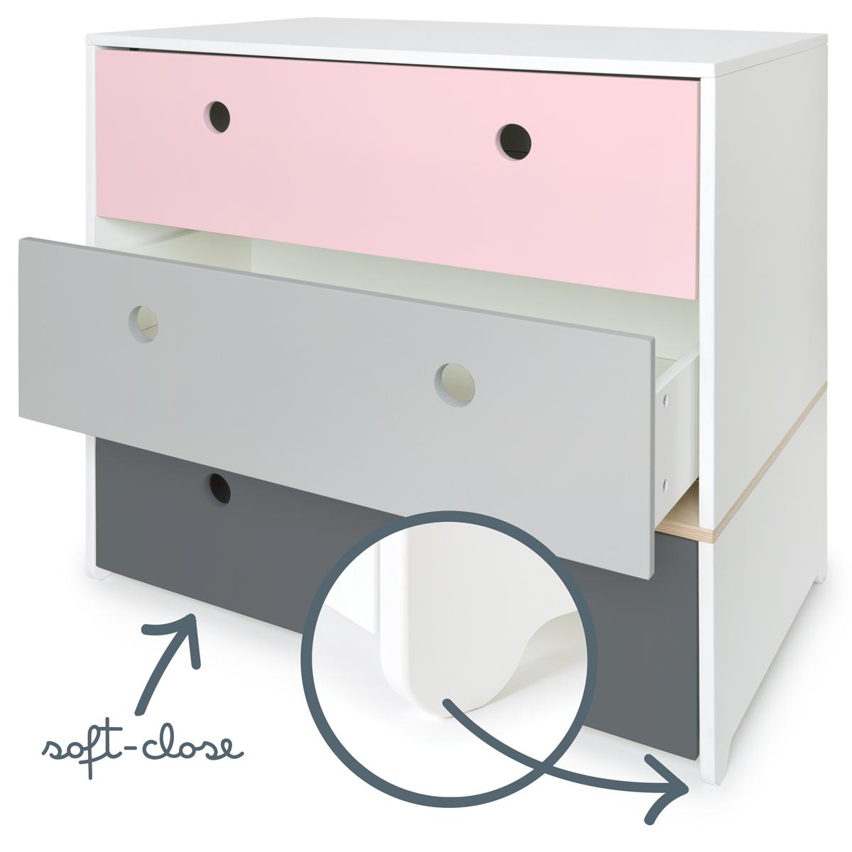 Commode COLORFLEX Abitare Kids façades tiroirs sweet pink-pearl grey-space grey