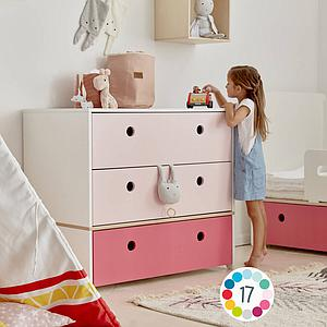 Commode COLORFLEX Abitare Kids façades tiroirs sweet pink-sweet pink-pearl grey