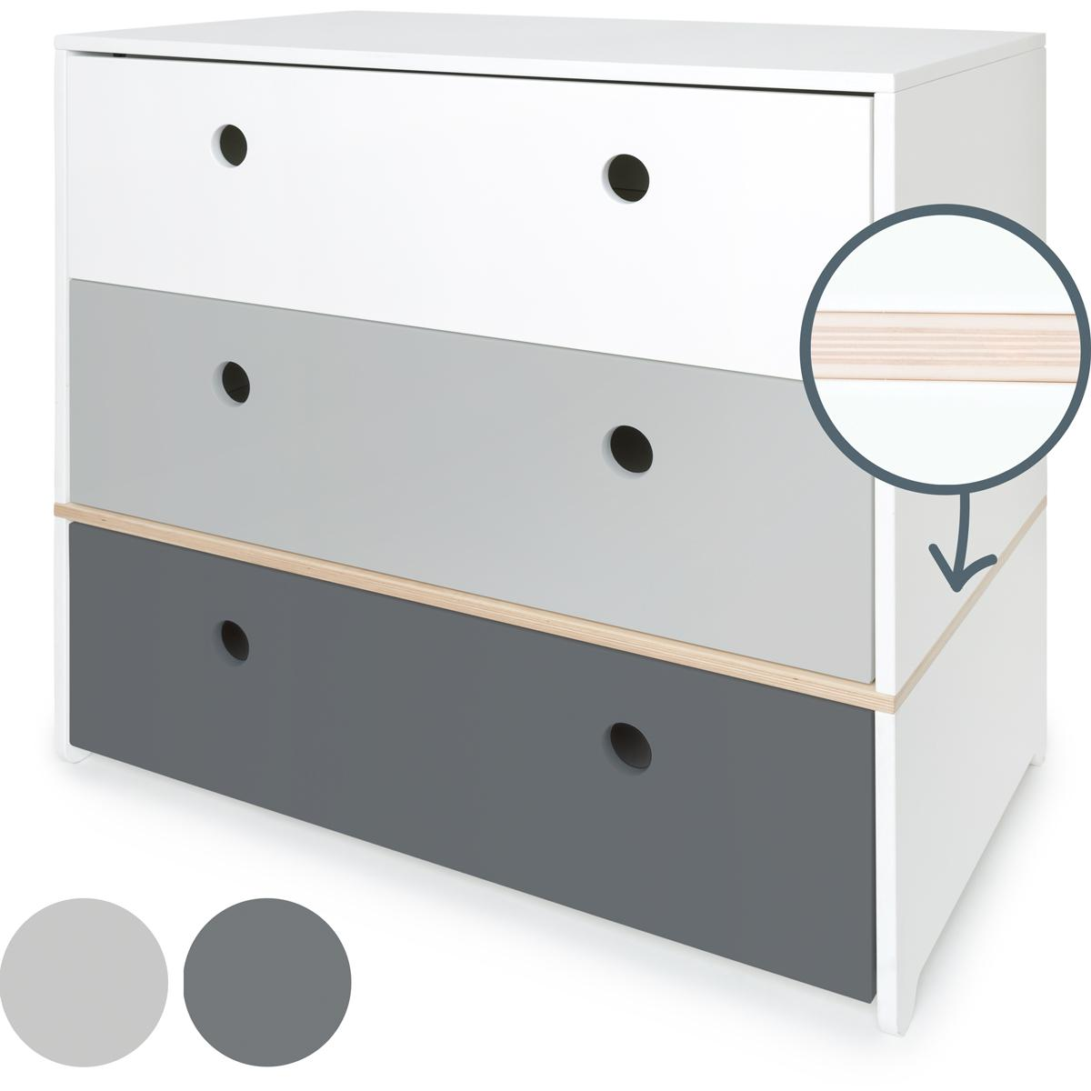 Commode COLORFLEX Abitare Kids façades tiroirs white-pearl grey-space grey