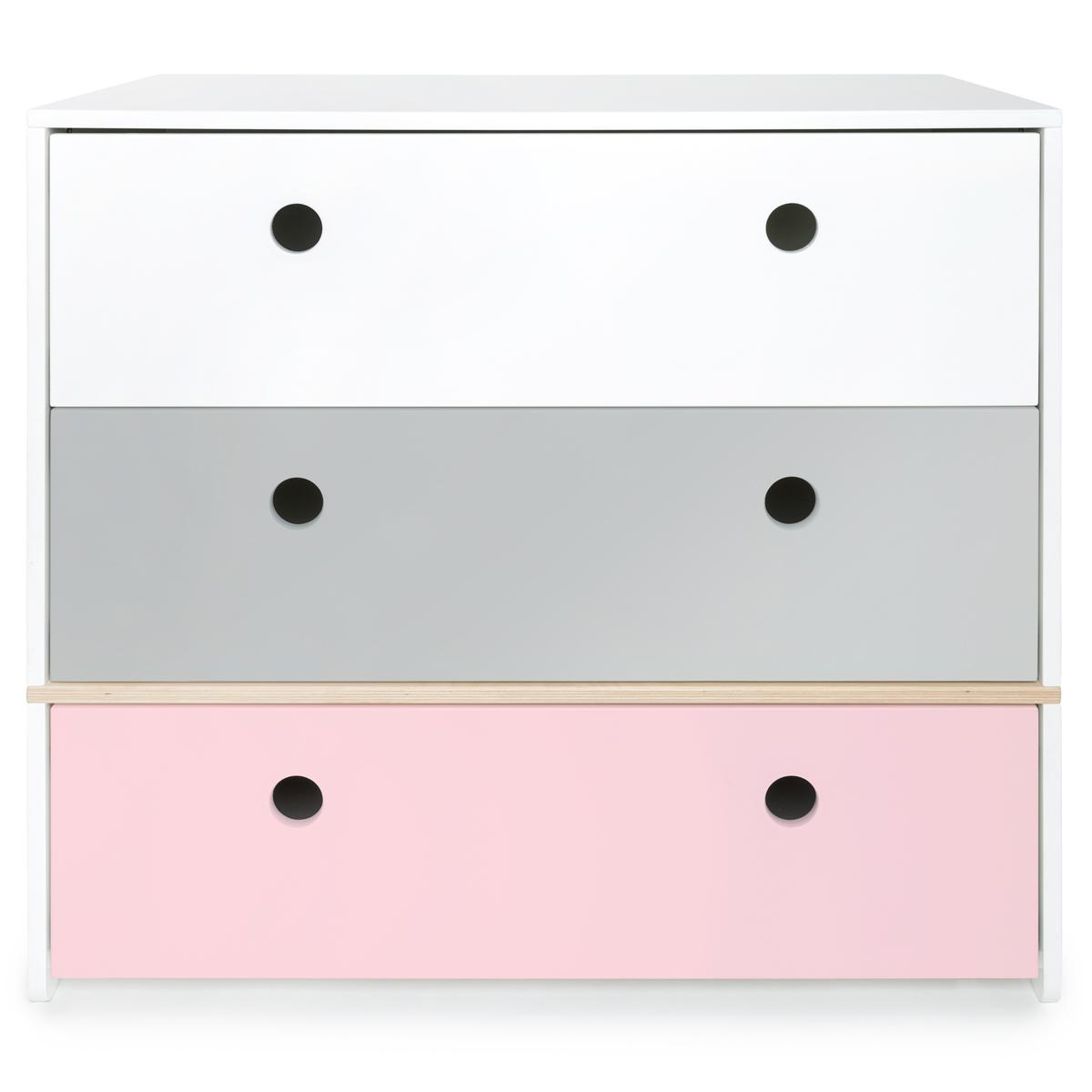 Commode COLORFLEX Abitare Kids façades tiroirs white-pearl grey-sweet pink