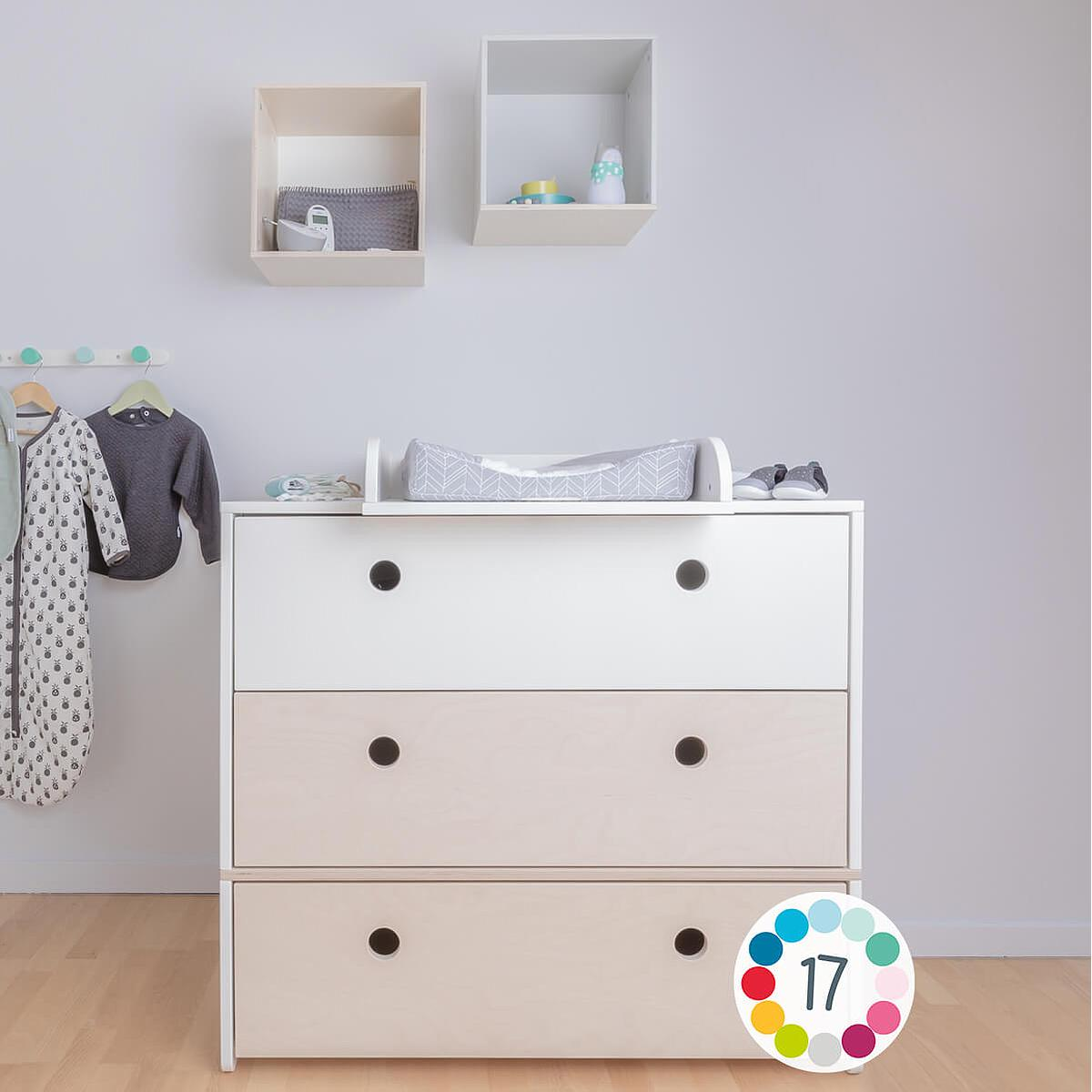 Commode COLORFLEX Abitare Kids façades tiroirs white-white-pearl grey