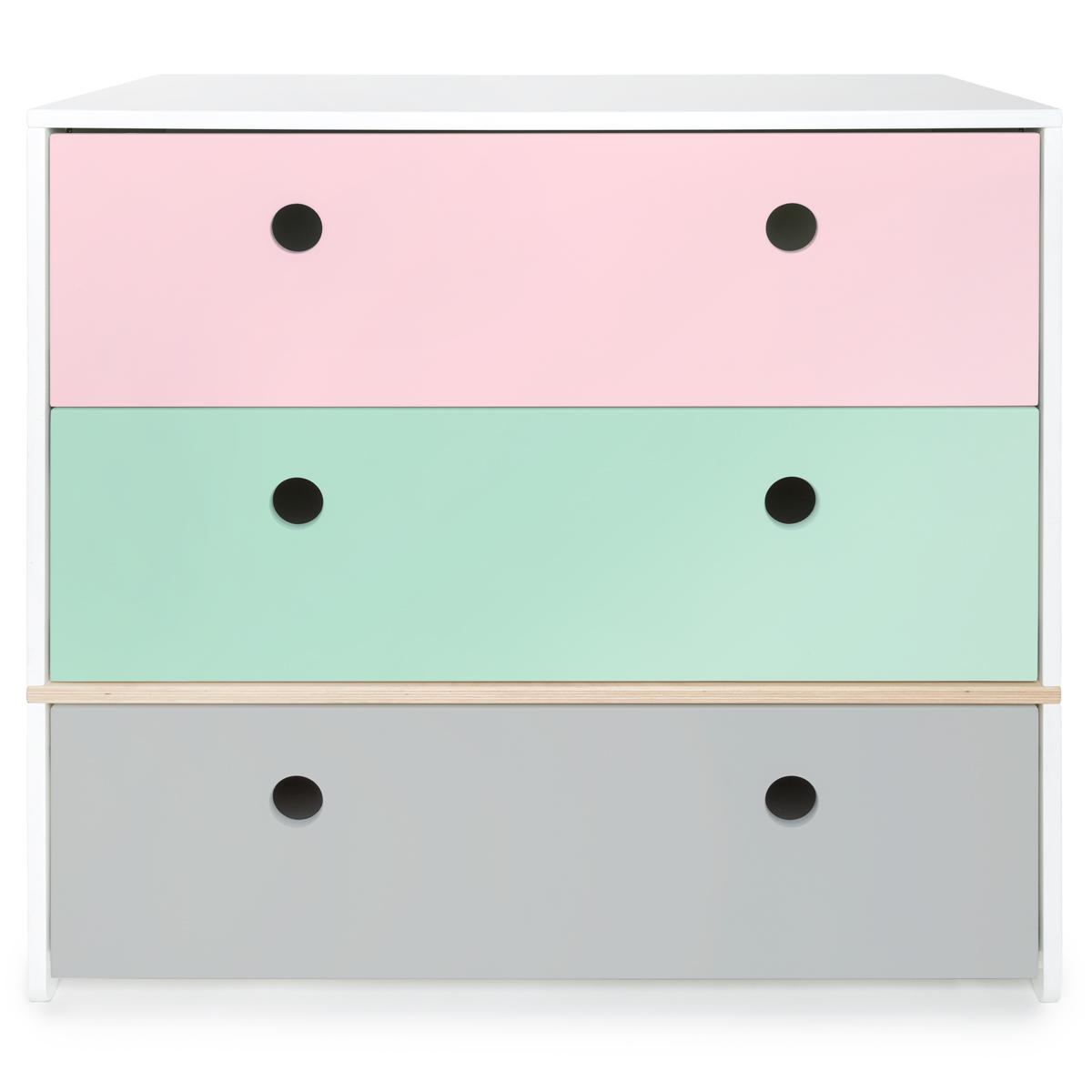 Commode COLORFLEX façades tiroirs sweet pink-mint-pearl grey