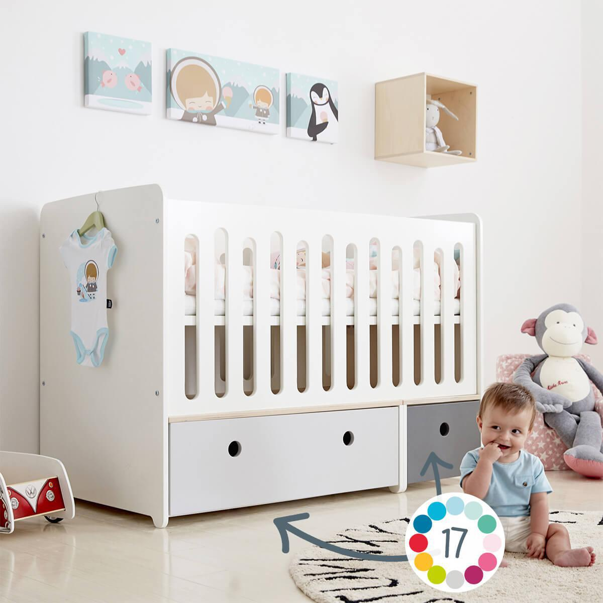 Lit bébé évolutif 70x140cm COLORFLEX Abitare Kids lime-warm grey