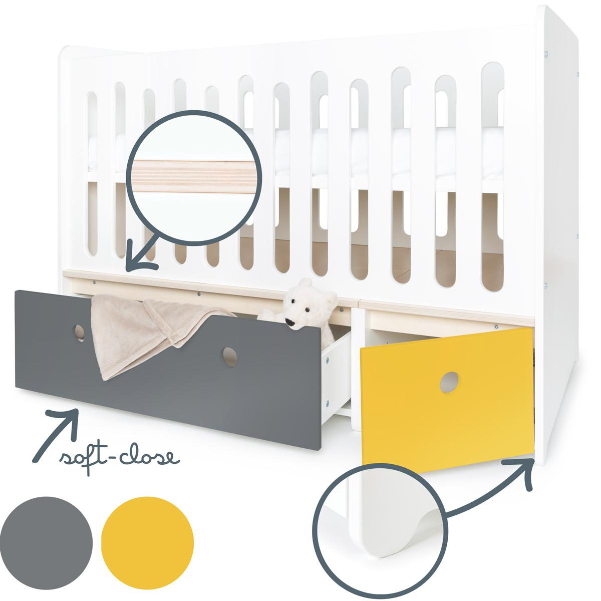 Lit bébé évolutif 70x140cm COLORFLEX Abitare Kids space grey-nectar yellow